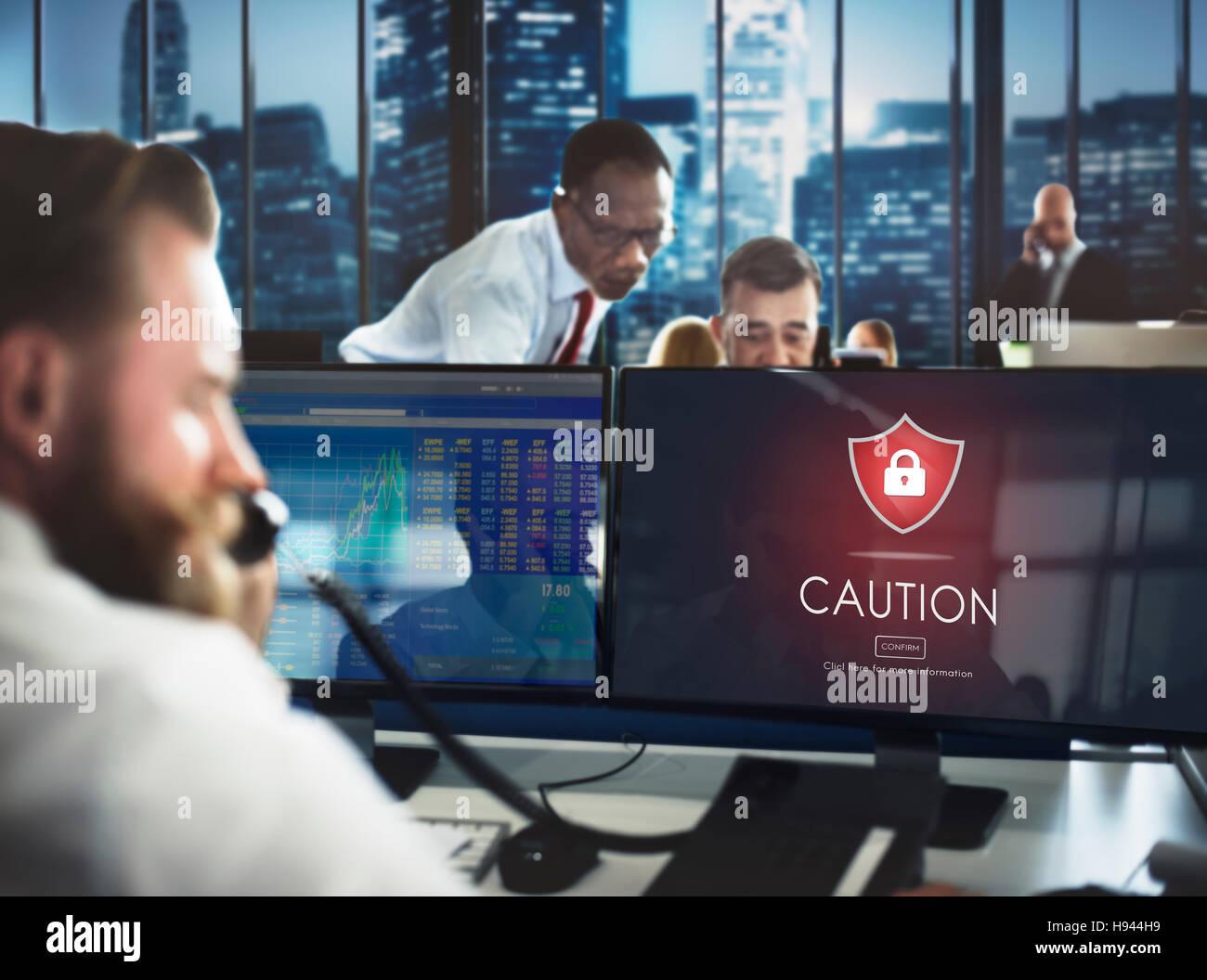 Vorsicht Vorsicht gefährlicher Hacker Konzept Stockfoto