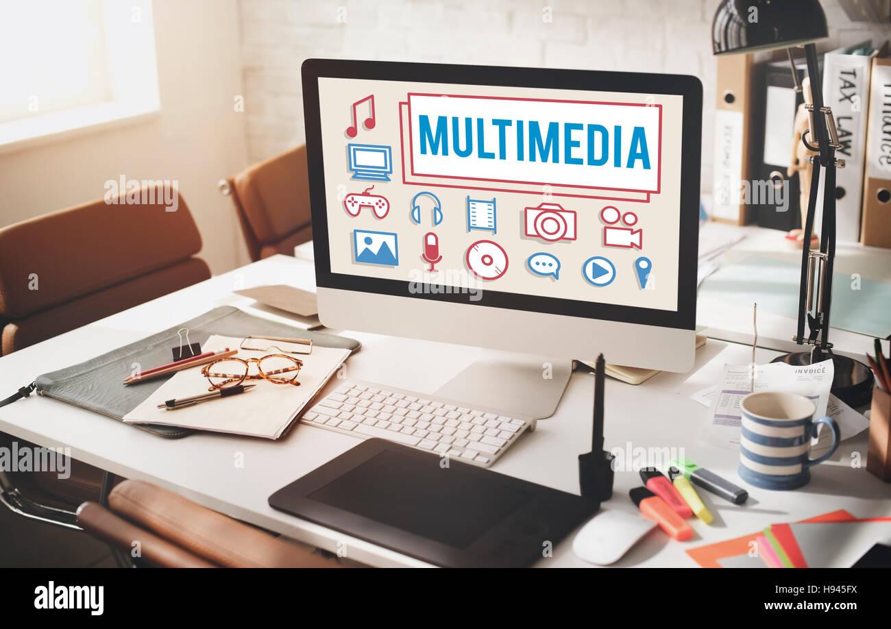 Multimedia-Animation Computer Graphics digitale Konzept Stockbild