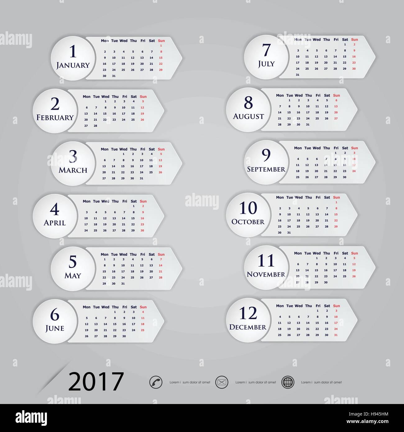 February 2017 Calendar Vector Illustration Stockfotos & February ...