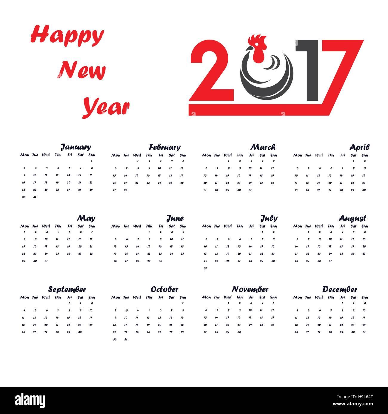2017 Kalender Für Das Jahr 2017 Templatecalendar Vektor Design