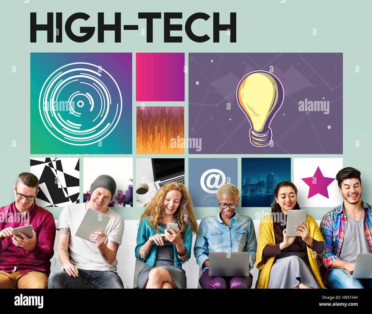 Hi-Tech Technologie Cyberspace-Netzwerk-Konzept Stockfoto
