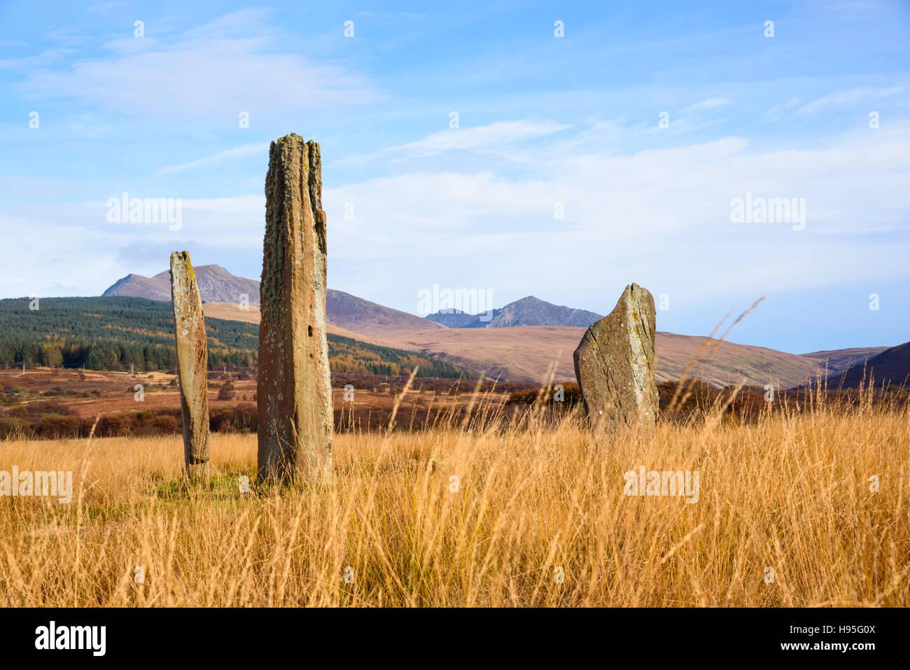 Machrie Moor Steinkreise, Isle of Arran, North Ayrshire, Schottland Stockbild