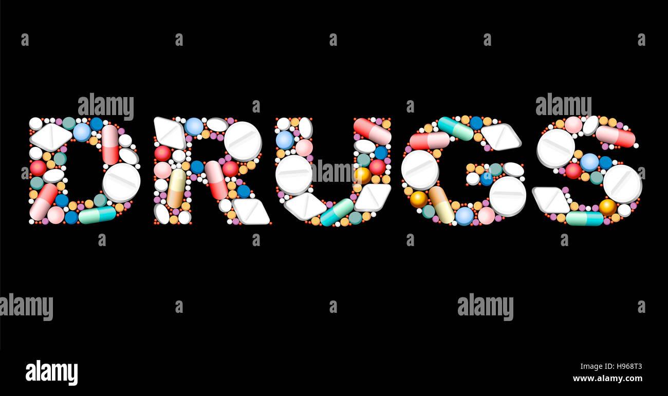Medikamente zusammen mit Pillen und Kapseln. Stockfoto