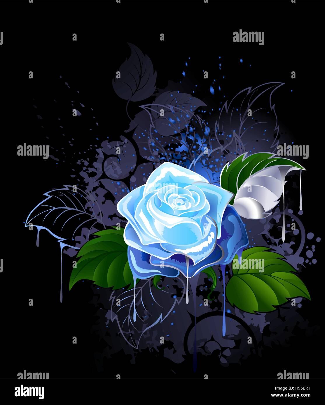 blaue rose mit gr nen bl ttern auf einem schwarzen. Black Bedroom Furniture Sets. Home Design Ideas
