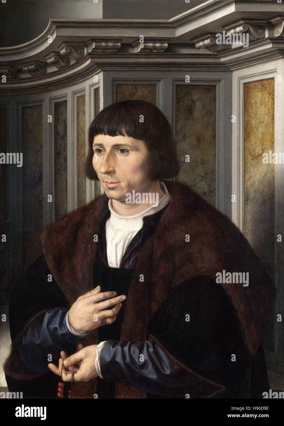 Jan Gossaert - Mann mit einem Rosenkranz - 1525 Stockbild