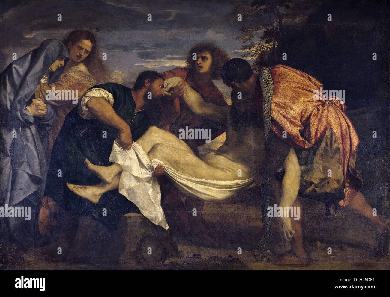 Tiziano Vecelli - Tizian - die Grablegung - 1525 Stockbild