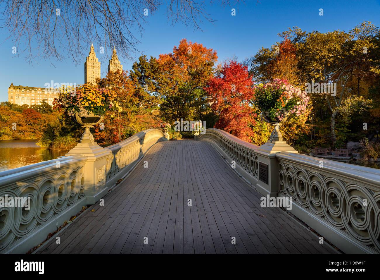 Fallen Sie im Central Park am See mit der Bogenbrücke. Sonnenaufgang mit bunten Herbstlaub. Upper West Side Stockbild