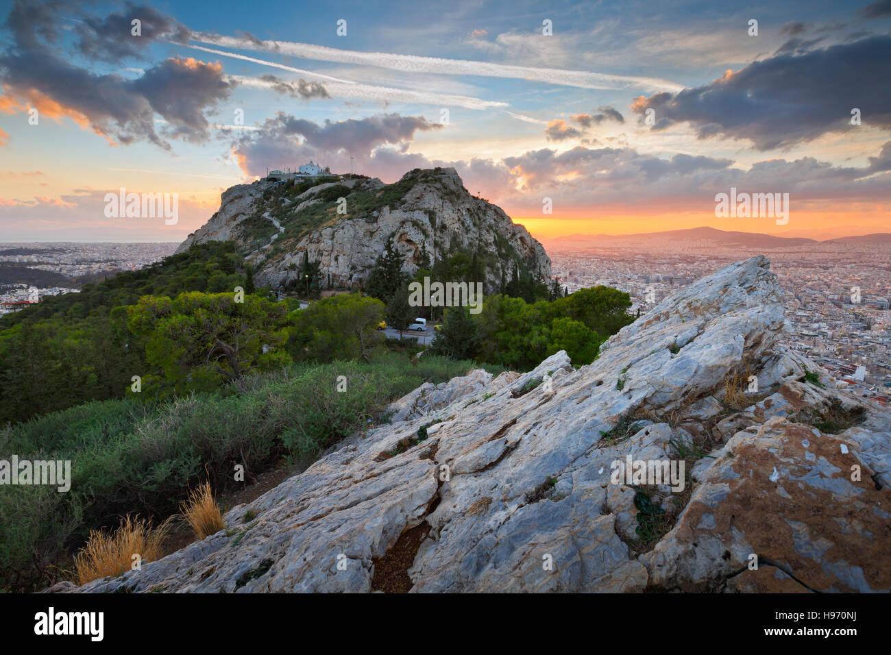 Ansicht von Athen aus Lycabettus-Hügel, Griechenland. Stockbild
