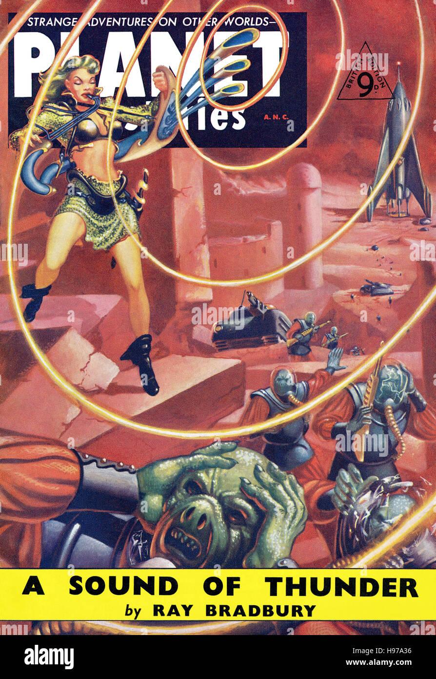 Britische Ausgabe des Themas Januar 1954 von Planet Stories Science Fiction Magazin Stockbild