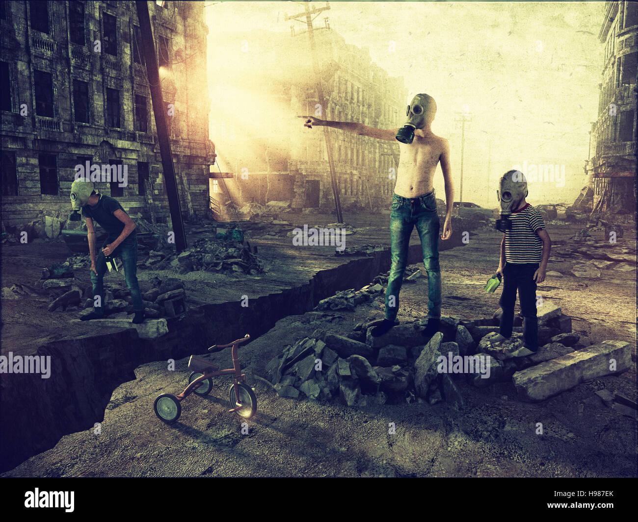 Ruinen einer Stadt mit und die Jungs auf der Straße. Fotokonzept Kombination. Korn hinzugefügt Stockbild