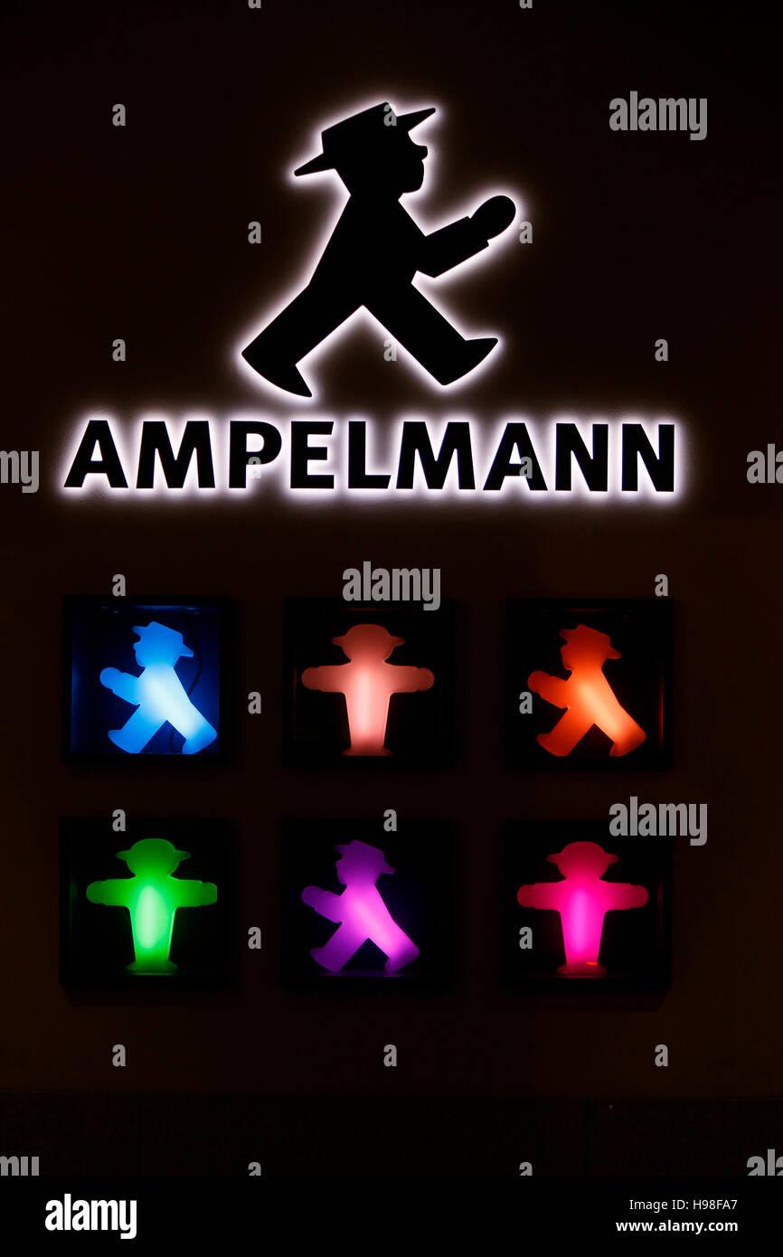 "Das Logo der Marke ""Ampelmann"", Berlin. Stockfoto"