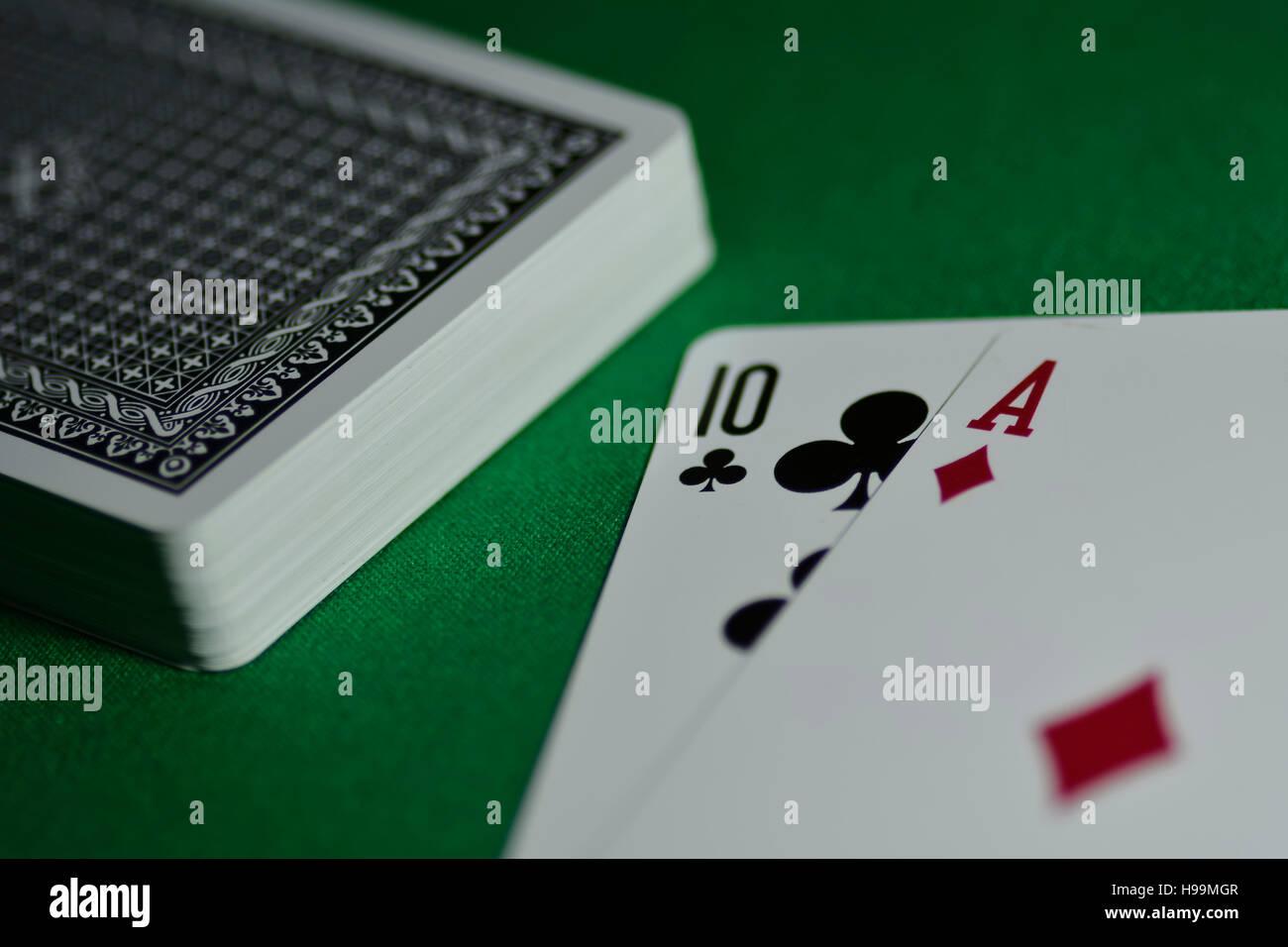 Ass, Poker, Karten, Spiel Stockfoto