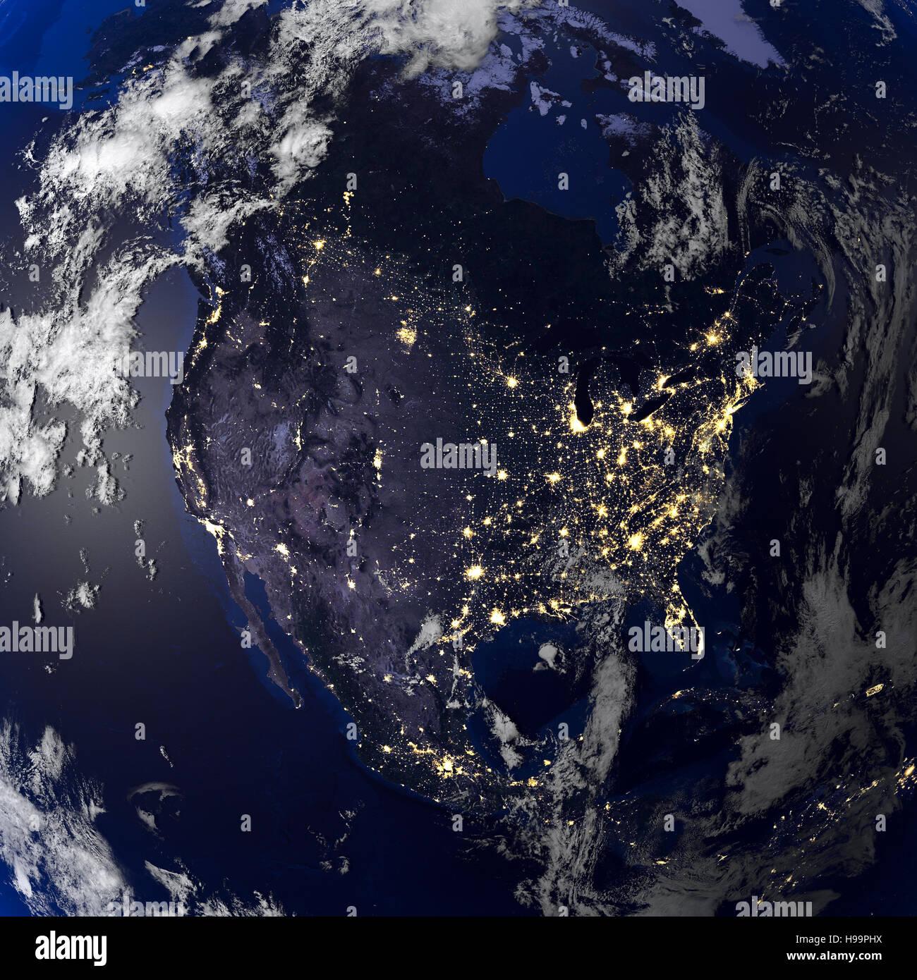 Der Erde Nacht Blick Aus Dem Weltall 3d Rendering Stockfoto Bild
