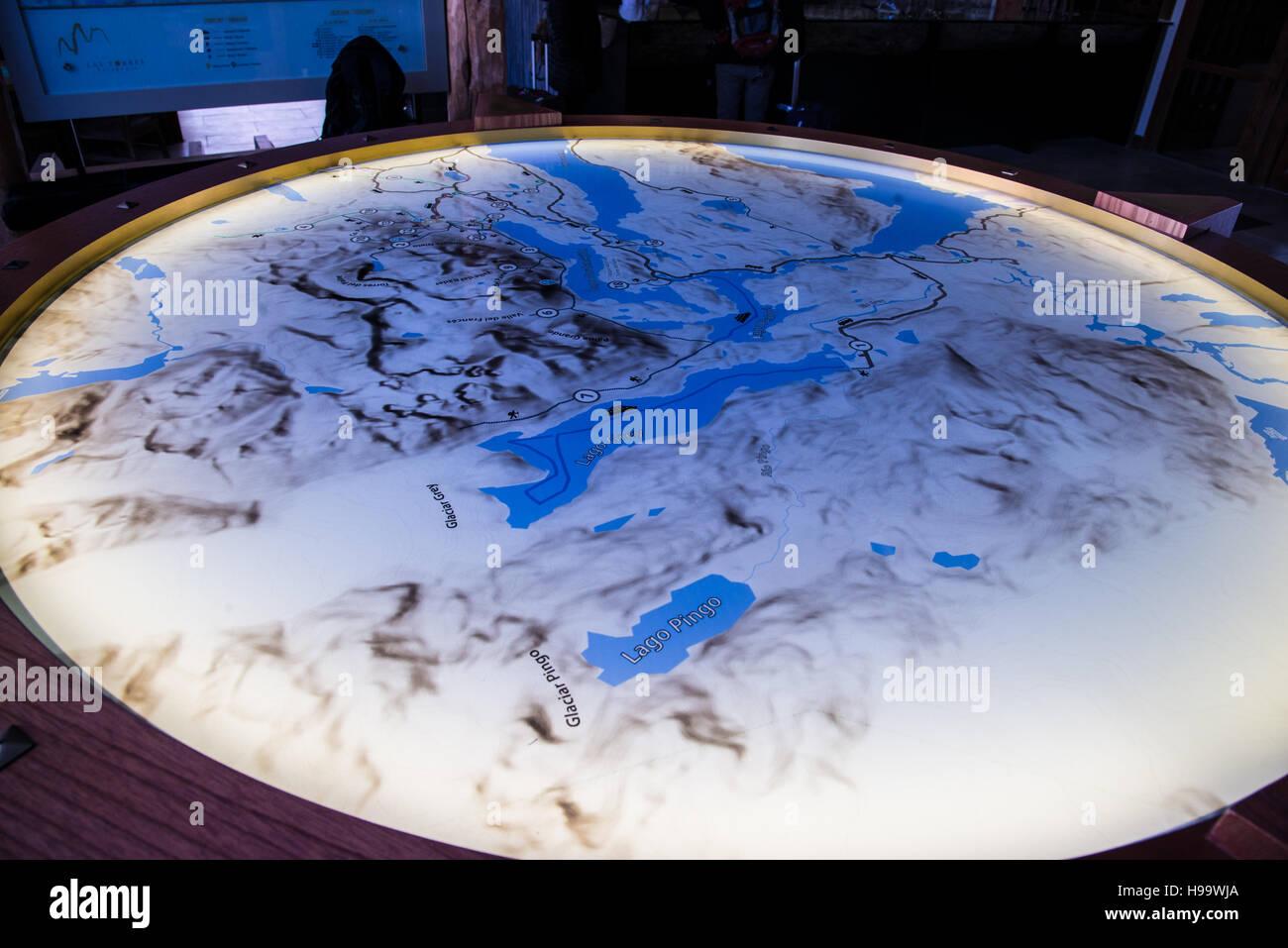 Patagonien Chile Trail Karte W Schaltung Hintergrundbeleuchtung ...