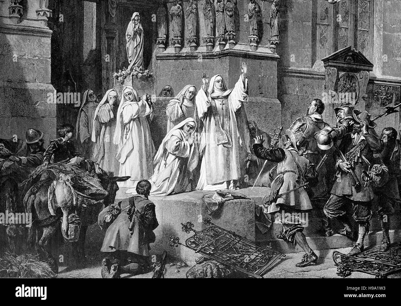 Kloster Frauenchiemsee, Deutschland, 1640, Abt Frau Magdalena verhindert die Zerstörung des Klosters durch Stockbild