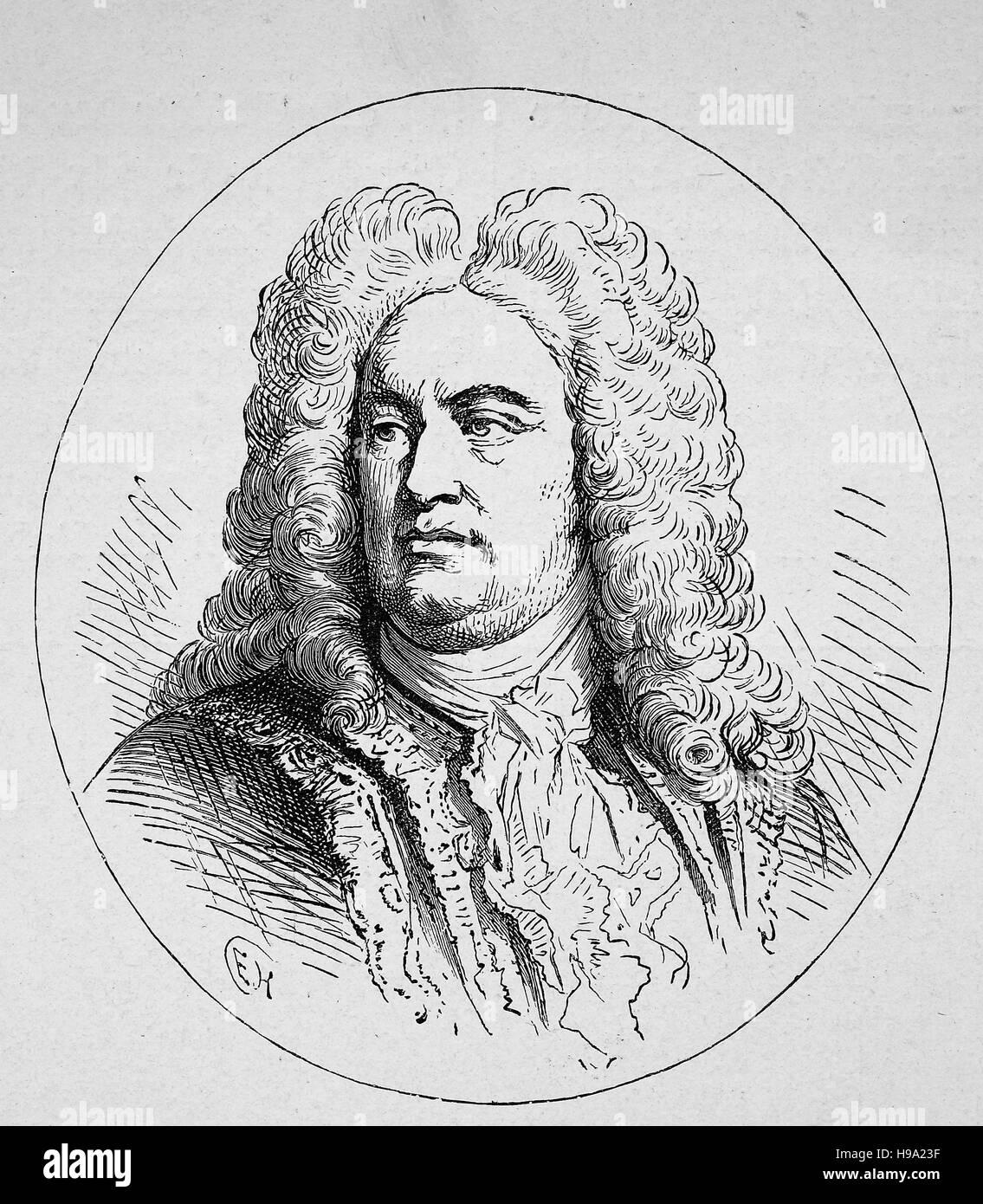 George Frideric oder Frederick Händel wurde 23. Februar 1685 - 14. April 1759 ein Deutsch, später British Stockbild
