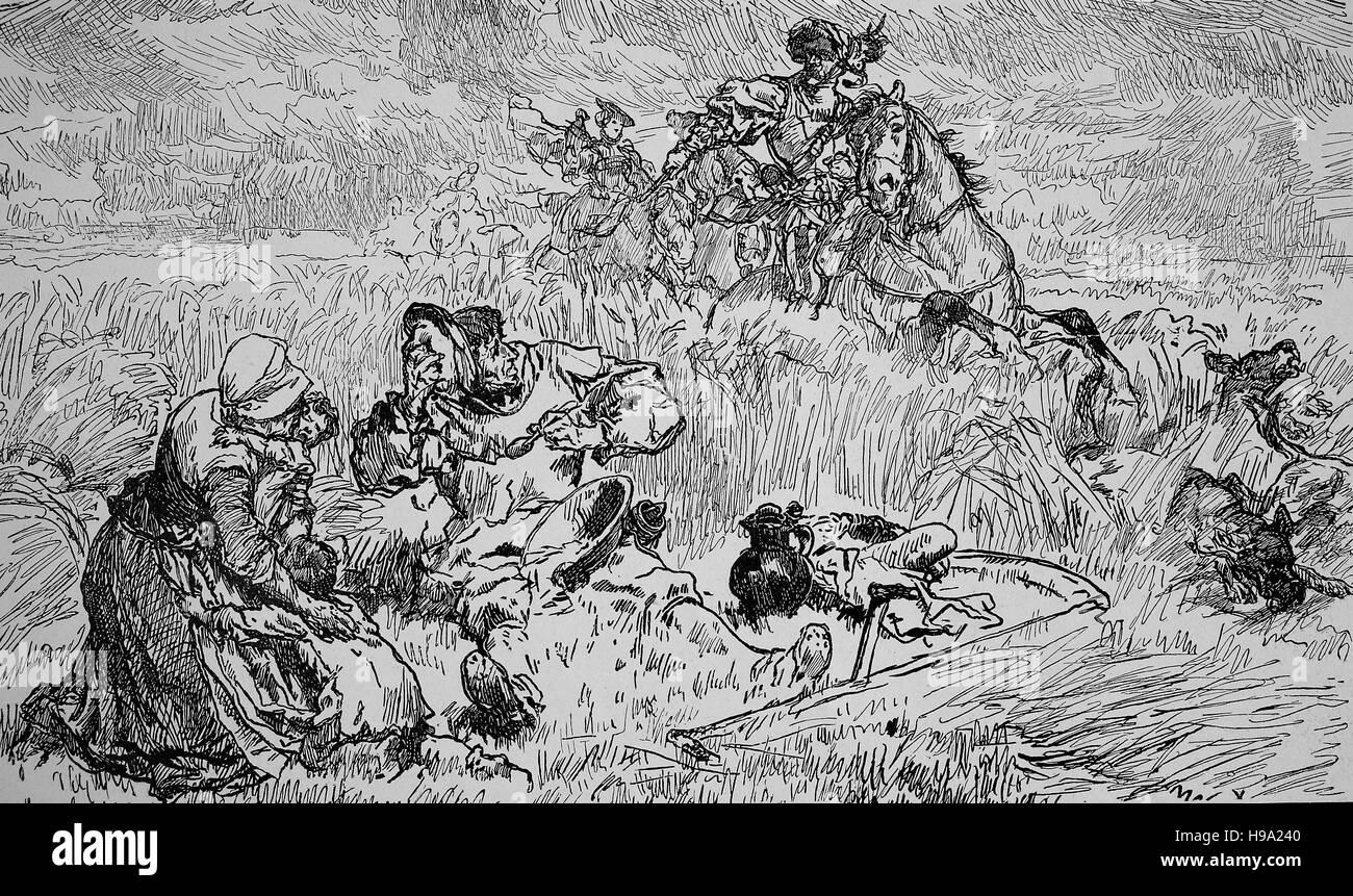 Deutsche Bauern Krieg 1525, die Not der Bauern, historische Abbildung Stockbild