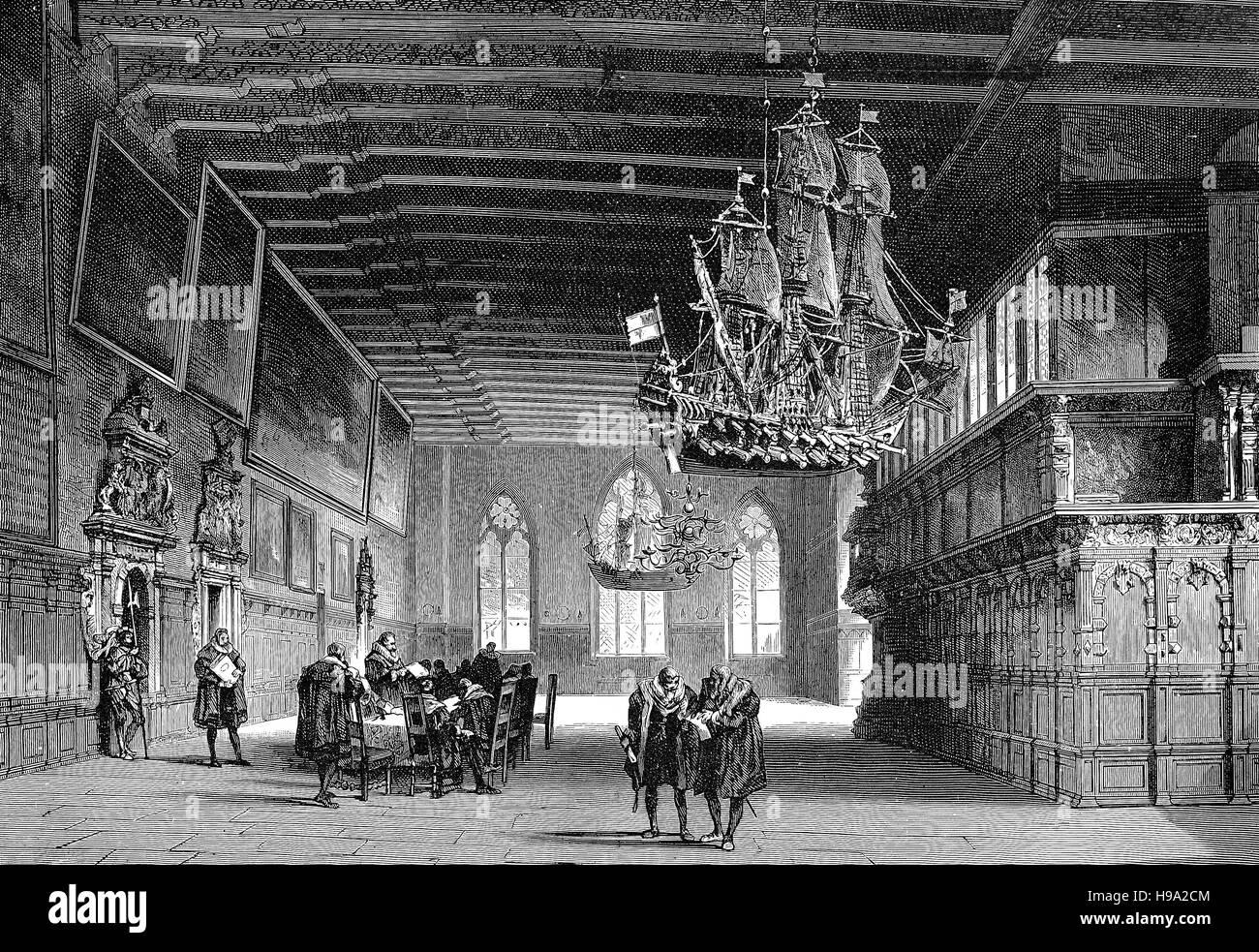 der saal im rathaus von bremen deutschland etwa 1500 historische illustration stockfoto bild. Black Bedroom Furniture Sets. Home Design Ideas