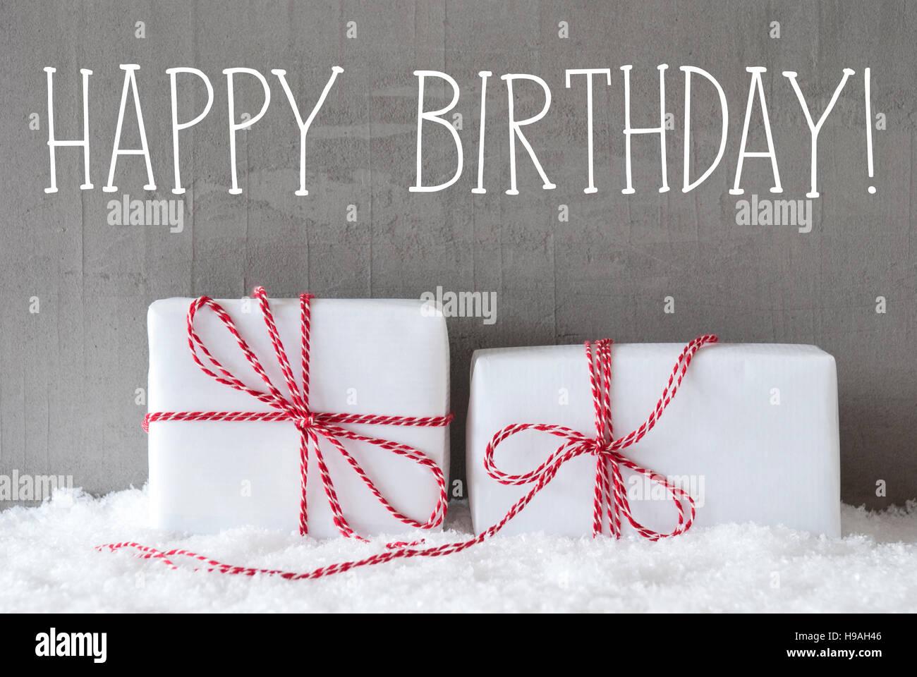 Zwei Geschenke Mit Schnee Text Alles Gute Zum Geburtstag Stockfoto