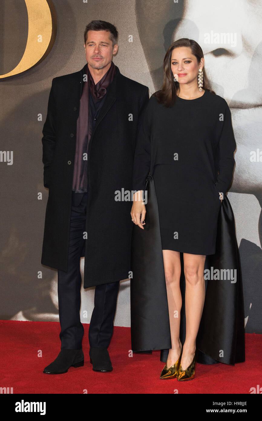 London Uk 21 November 2016 Brad Pitt Und Marion Cotillard