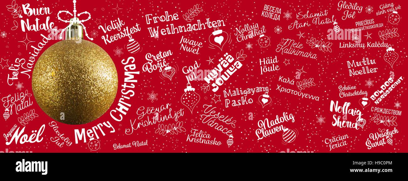 Weihnachtsgrüße In Verschiedenen Sprachen.Frohe Weihnachtsgrüße Web Banner Von Welt In Verschiedenen Sprachen