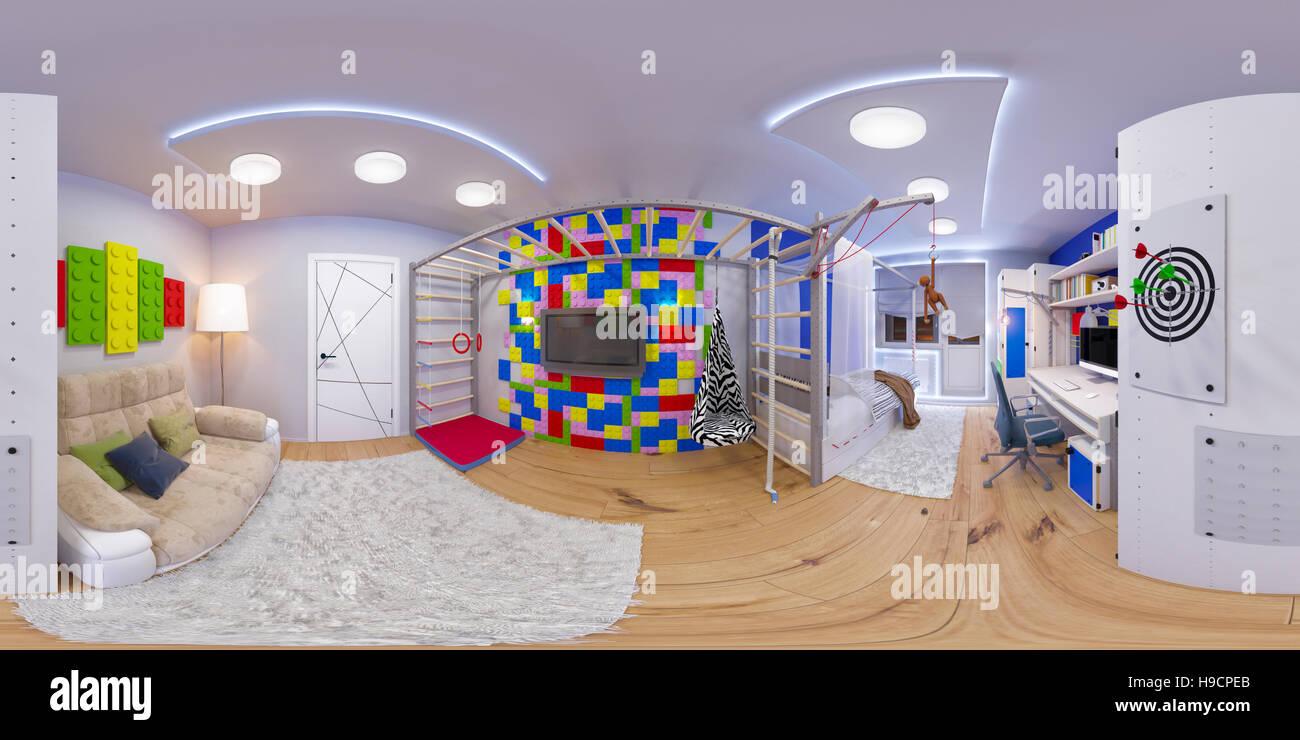 Einzigartig Kinderzimmer Gestalten Junge Das Beste Von 3d Darstellung Sphärischer 360 Grad, Nahtlosen Panorama