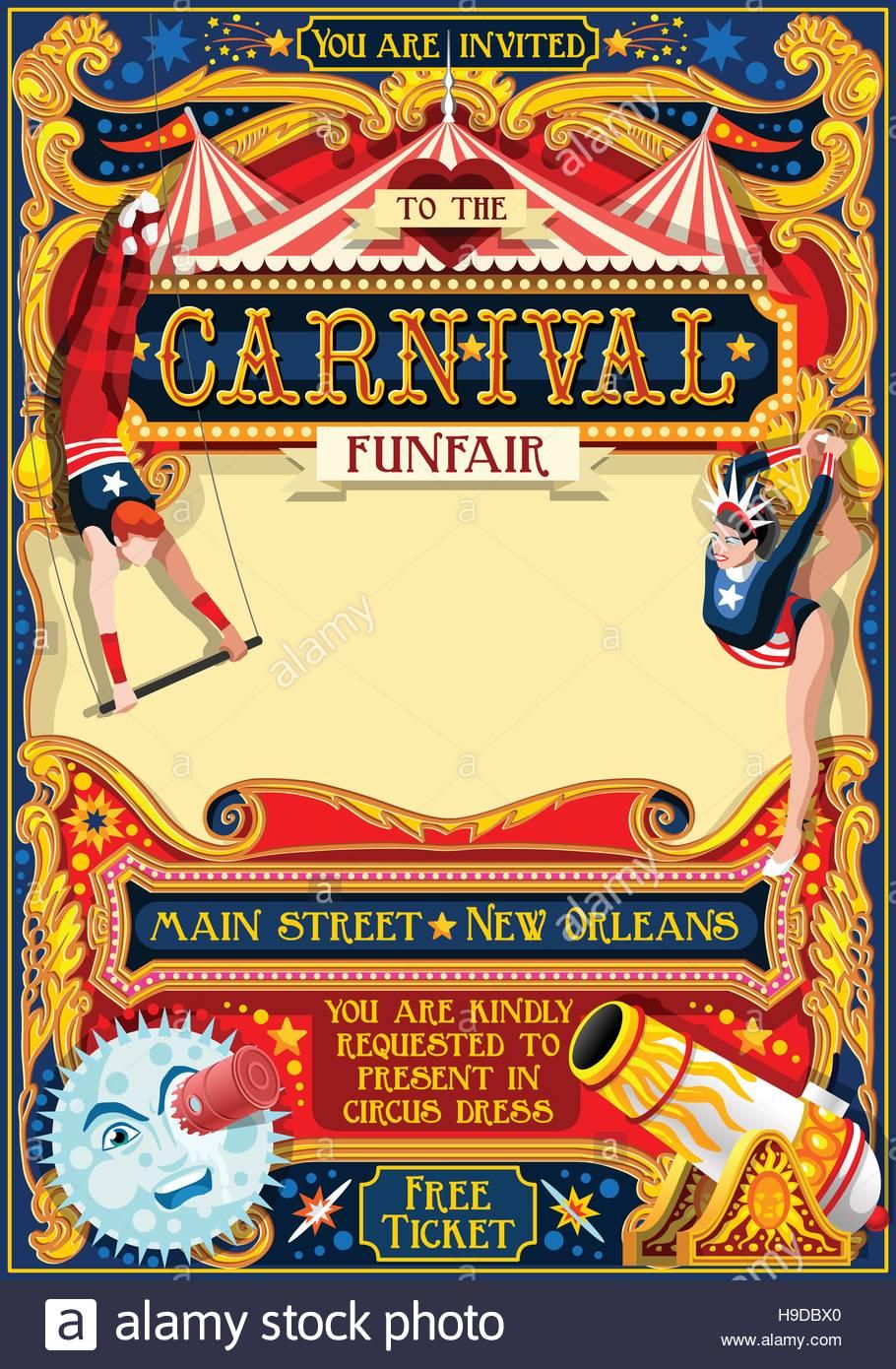 Zirkus Jongleur Show Retro Vorlage Cartoon Poster Einladen Kinder