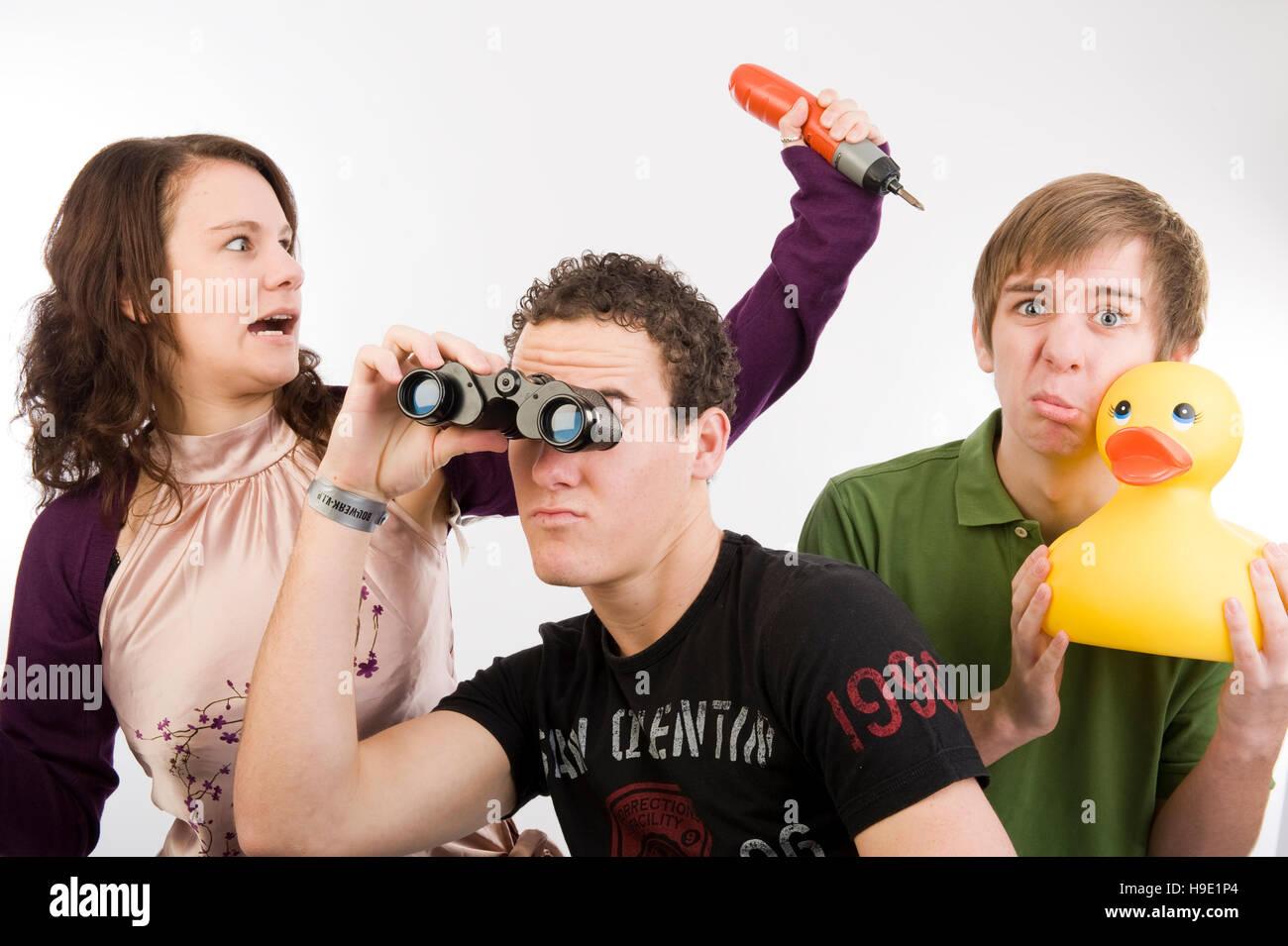 Drei Jugendliche posiert funniliy Stockfoto