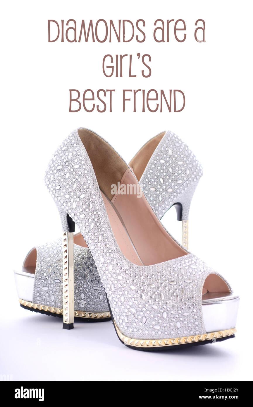 3b2e0177f925 High-Heel Strass Stiletto Schuhe mit lustigen sagen, Diamonds Are a Girls  Best Friend