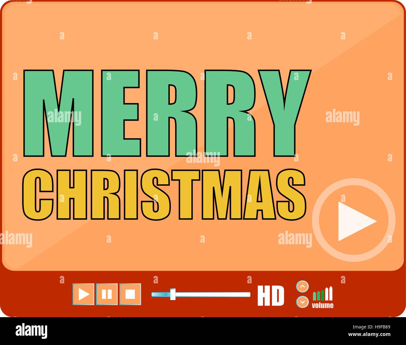 Flaches Design-Taste. Frohe Weihnachten-Wörter auf Mediaplayer ...