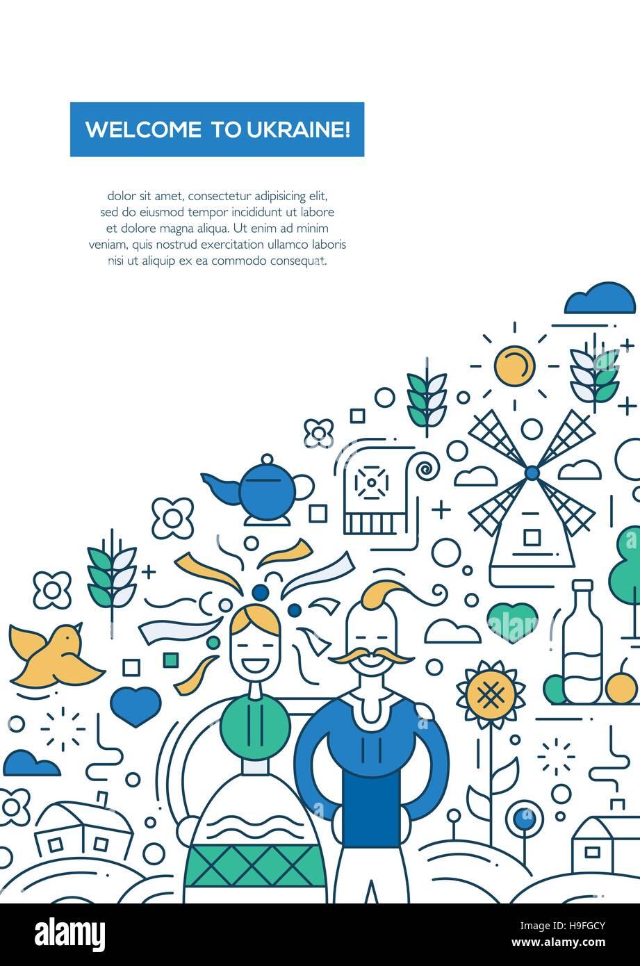 Herzlich Willkommen Sie In Der Ukraine Vektor Linie Design Broschüre