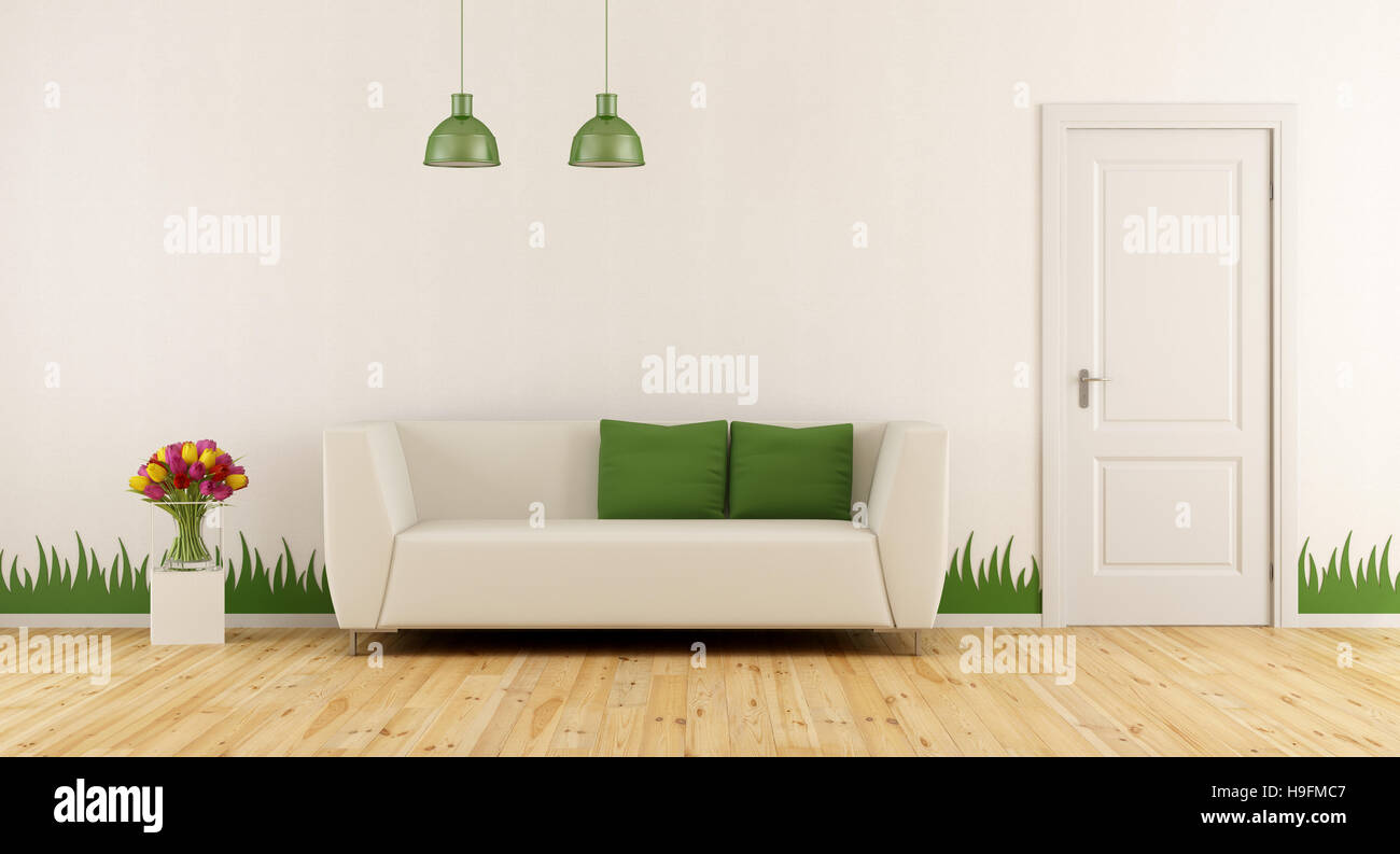 Erstaunlich Dekoration Wand Sammlung Von Frisch Wohnzimmer Mit Modernem Sofa, Tür Und