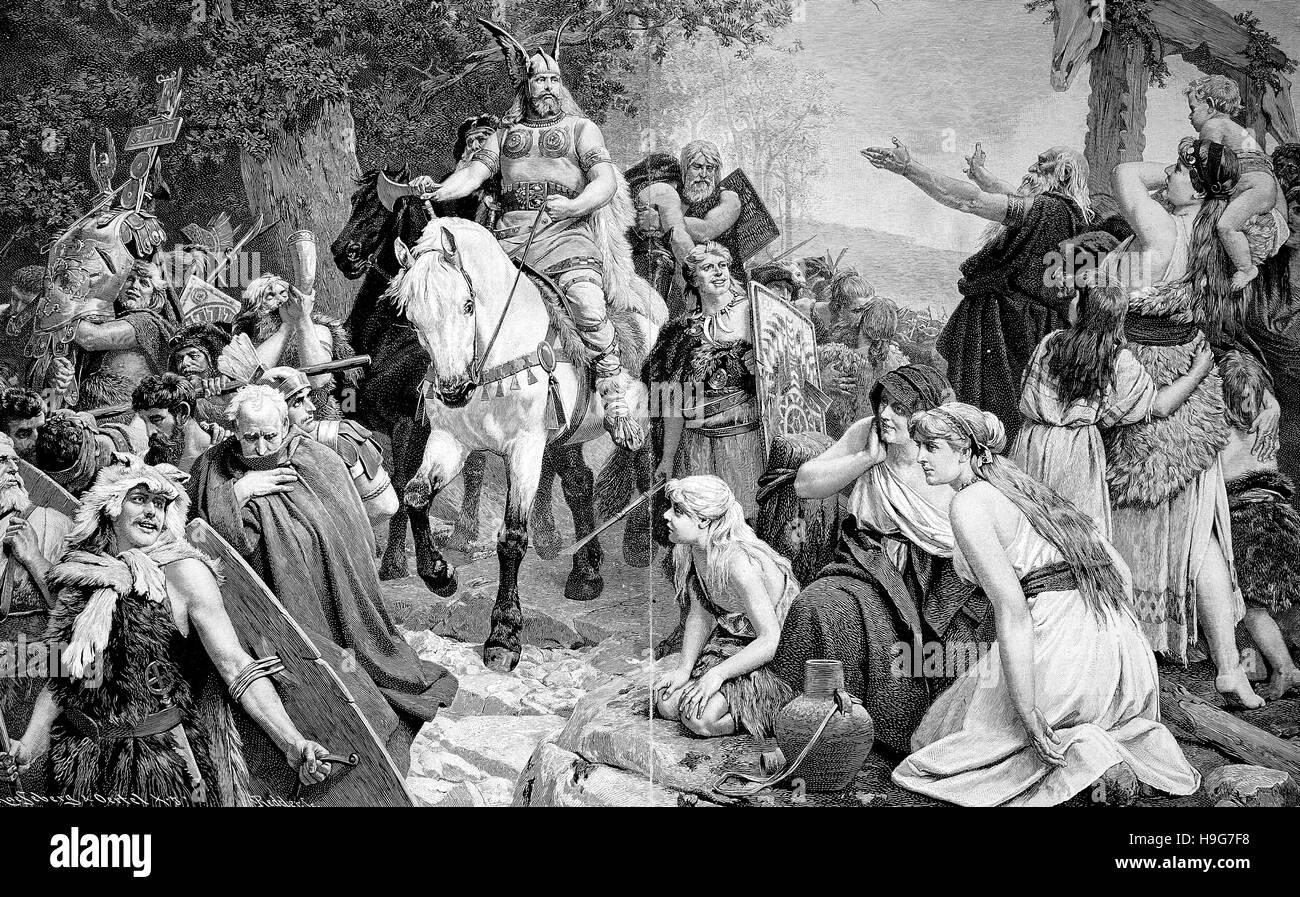 Heimkehr deutschen nach der Schlacht am Teutoburger Wald, Schlacht Im Teutoburger Wald, Hermannsschlacht oder Varusschlacht Stockfoto