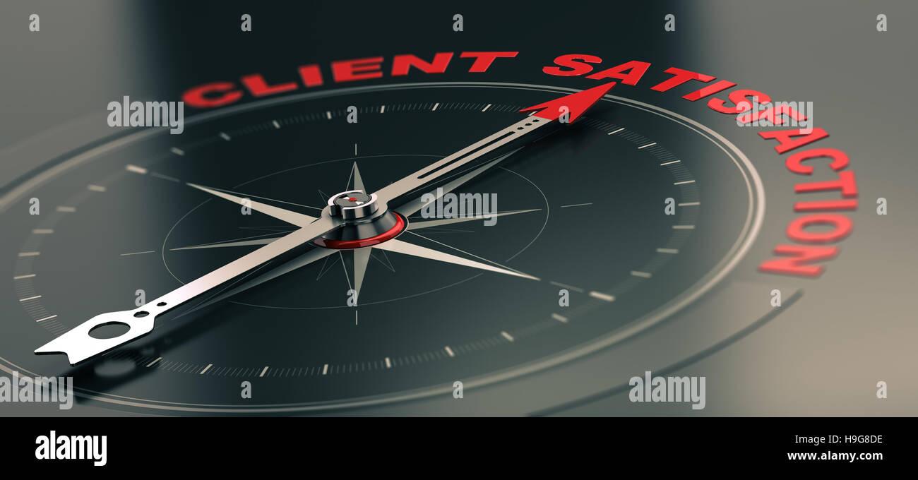 3D Abbildung eines konzeptionellen Kompasses mit Nadel zeigt den Text Kundenzufriedenheit, Business oder Marketing Stockbild