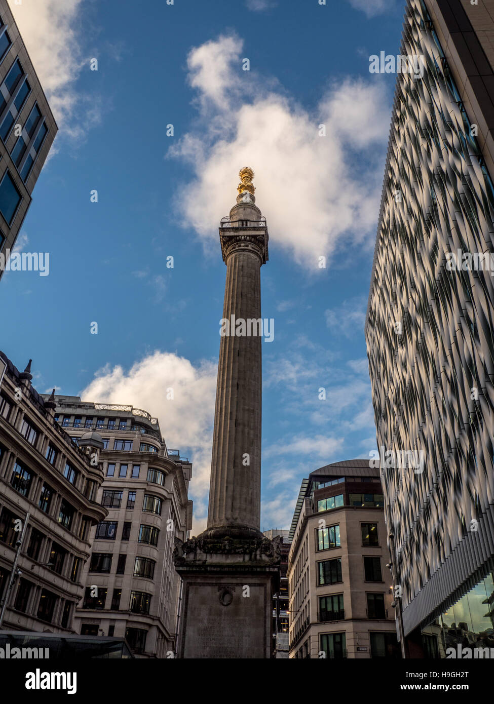 Denkmal für den großen Brand von London von Sir Christopher Wren, London, UK. Stockbild