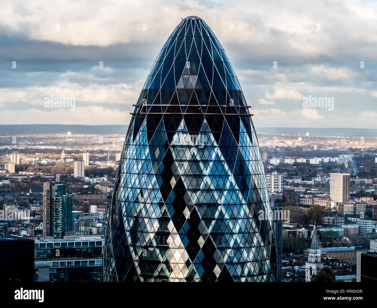 Das Gherkin Gebäude, London, UK. Stockbild