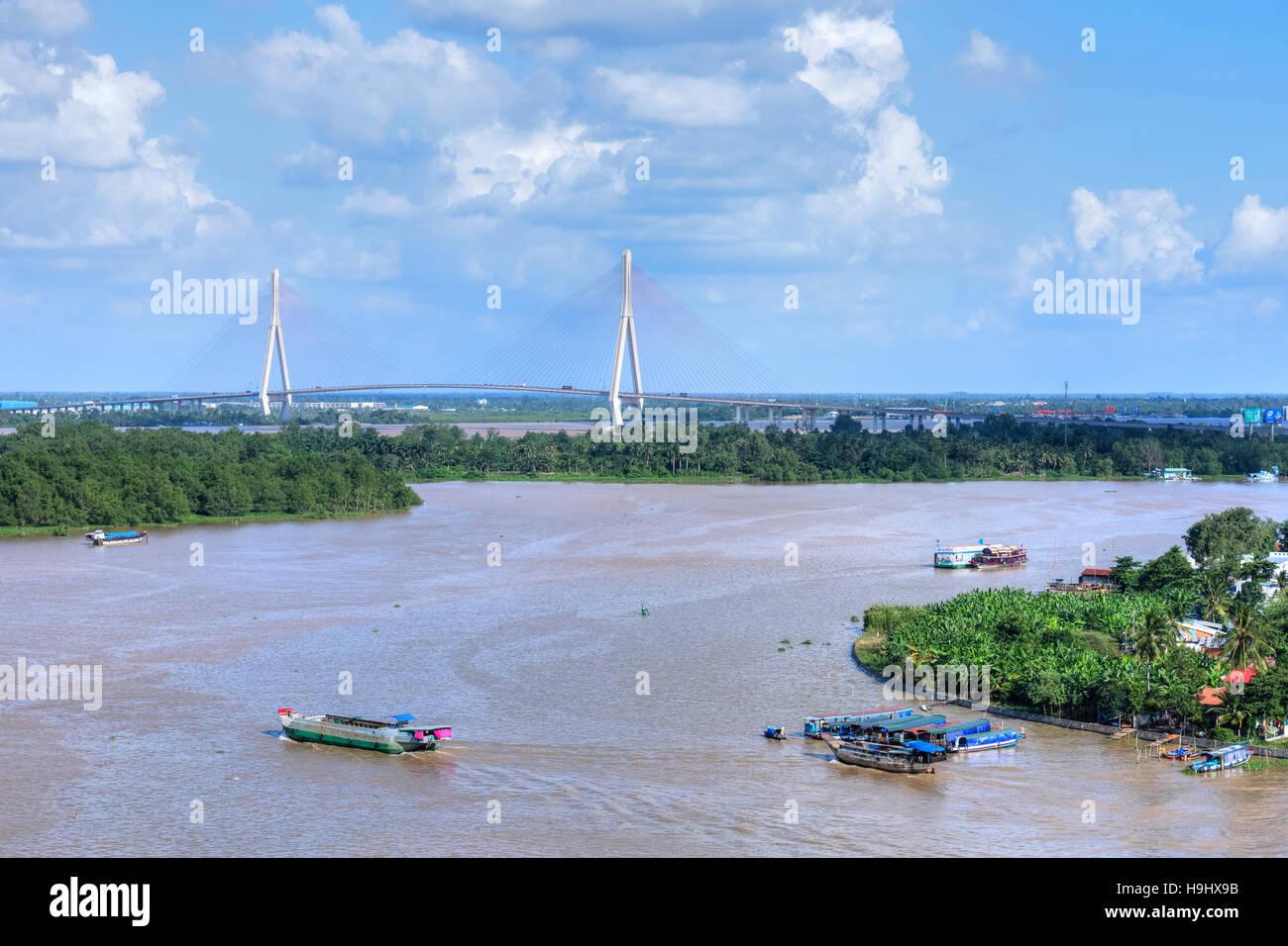 Can Tho Brücke, Hau Fluss Mekong Delta, Vietnam, Asien Stockbild