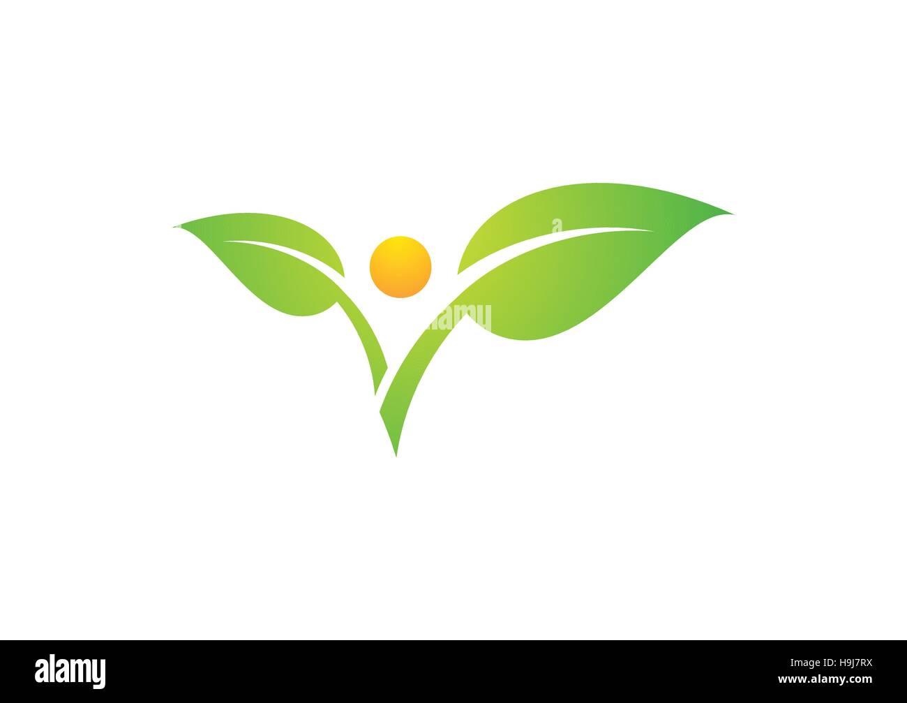 Pflanze Menschen natürliche Gesundheit Logo, Sonnen-Blatt-Natur ...
