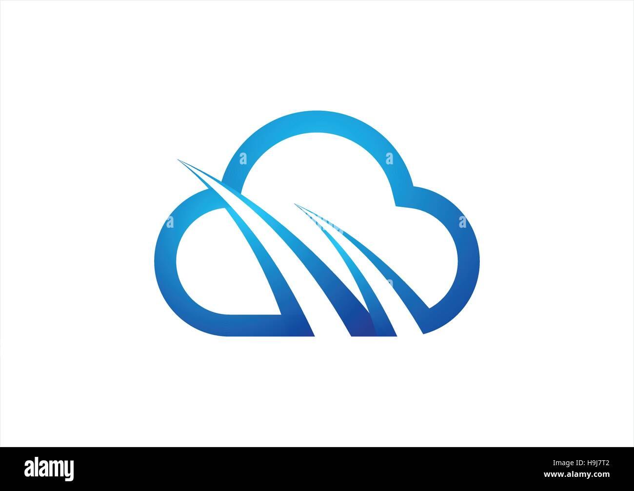 Cloud-computing-Symbol-Logo-Design-Vorlage. blaue Wolke Zeichen ...