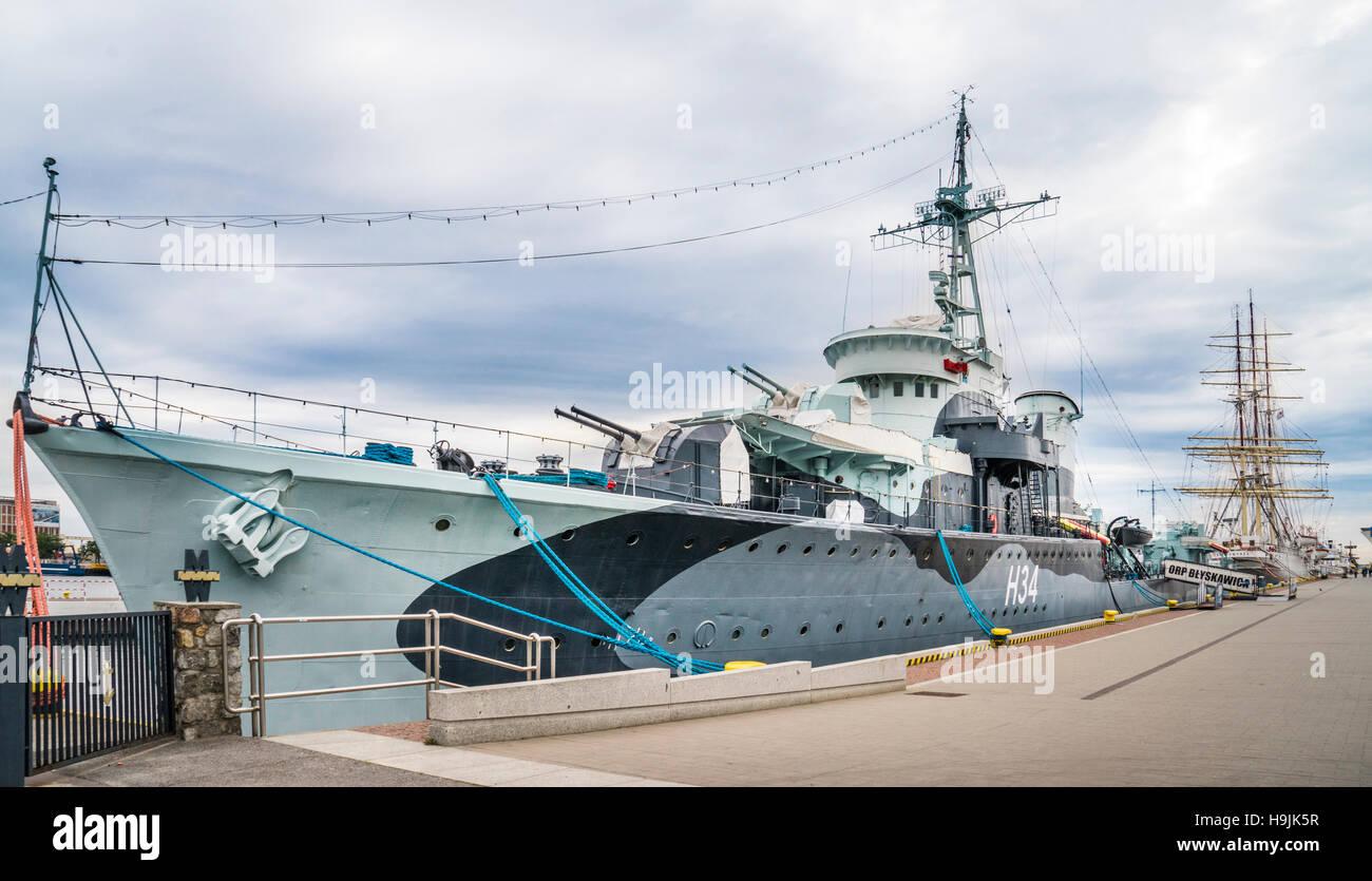 Polen, Pommern, Gdynia, WW II polnische Marine Grom-Klasse Zerstörer ORP B?yskawica, Museen-Schiff in den Hafen Stockbild