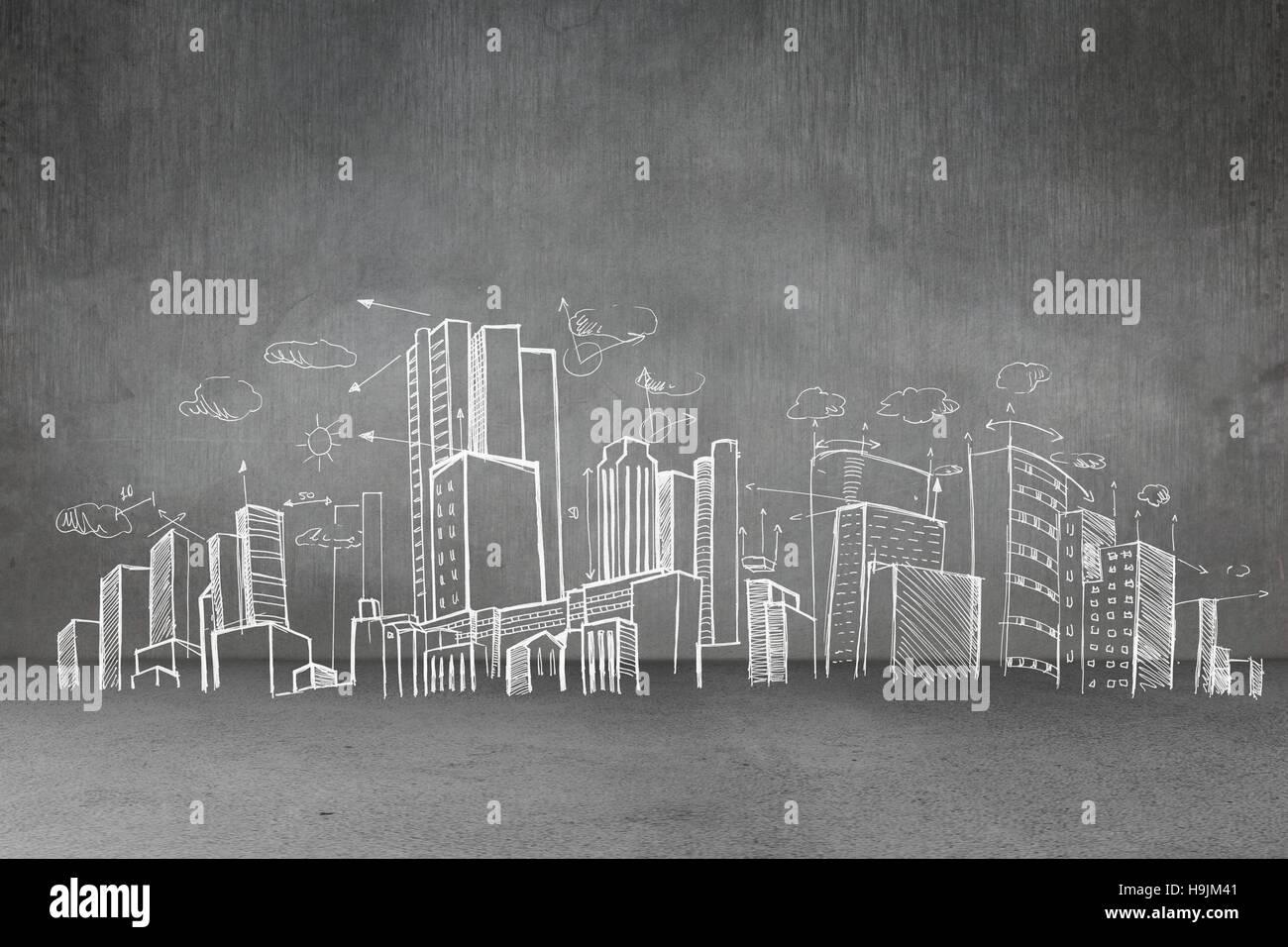 Hand gezeichnete Stadtplan Stockbild