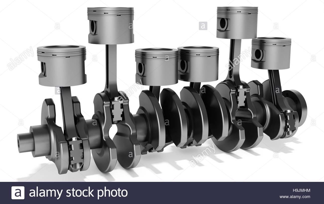 3D Kolben und Kurbelwelle, Kfz-Motor auf weißem Hintergrund ...