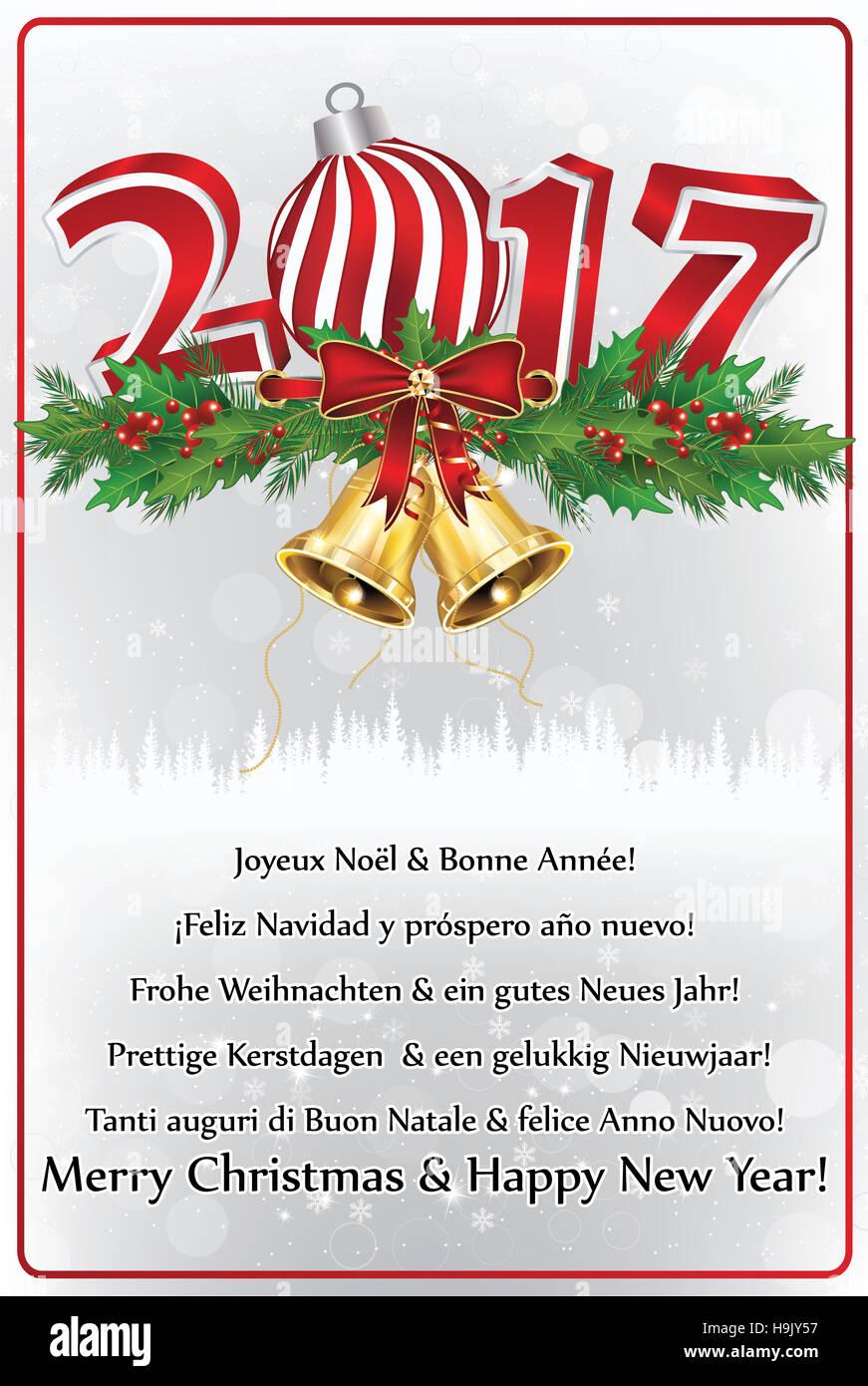 Frohe Weihnachten Und Ein Gutes Neues Jahr Holländisch.Neujahr Grußkarte 2017 In Vielen Sprachen Die übersetzung Des