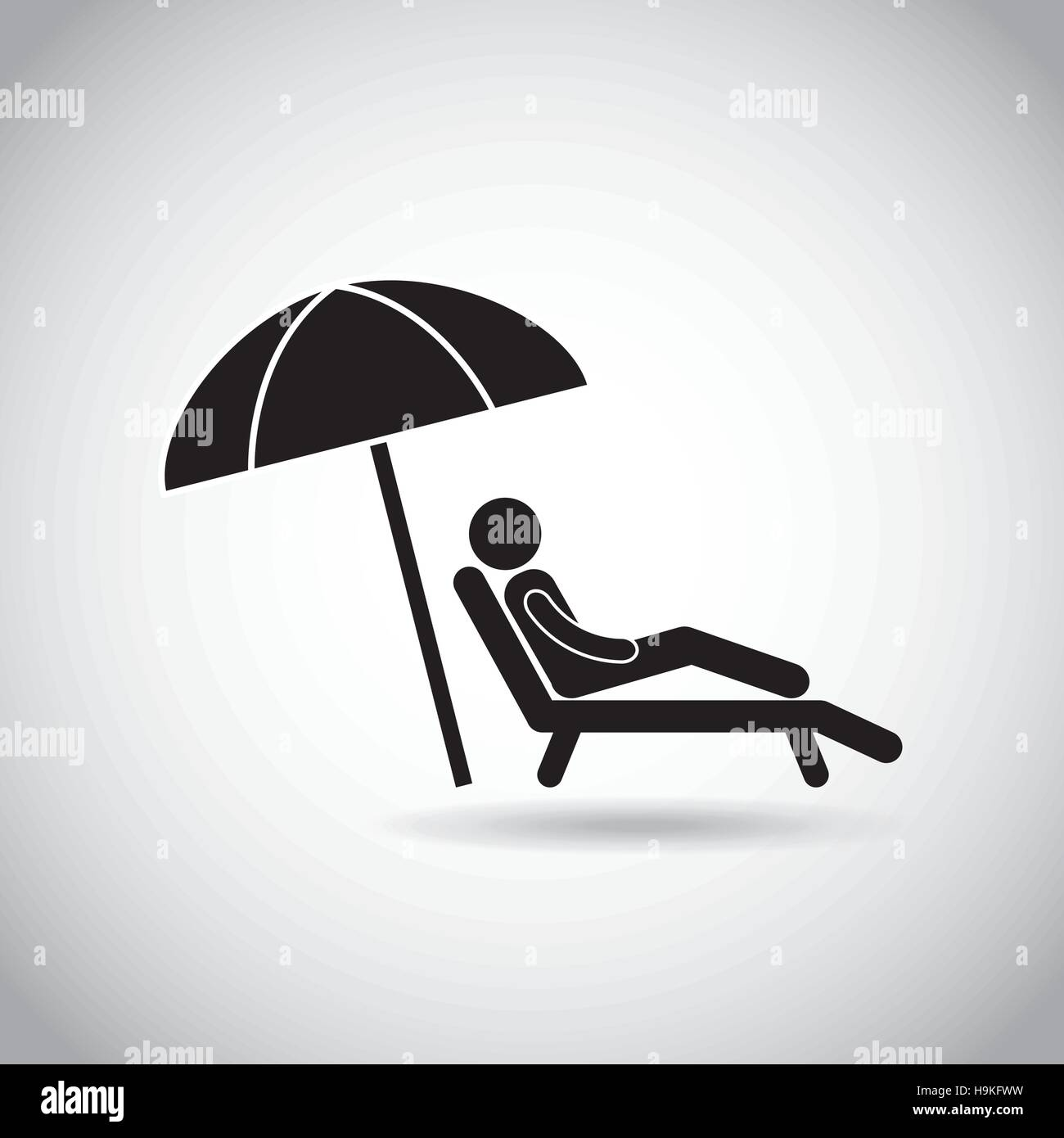 mann sitzt in einem liegestuhl mit sonnenschirm symbol auf wei em hintergrund piktogramm design. Black Bedroom Furniture Sets. Home Design Ideas