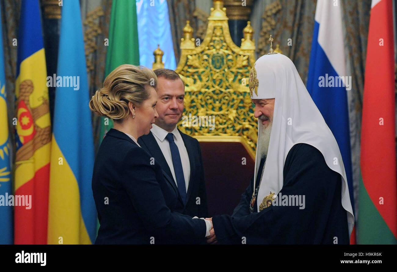 Der Russische Premierminister Dmitry Medvedev Und Seine Frau