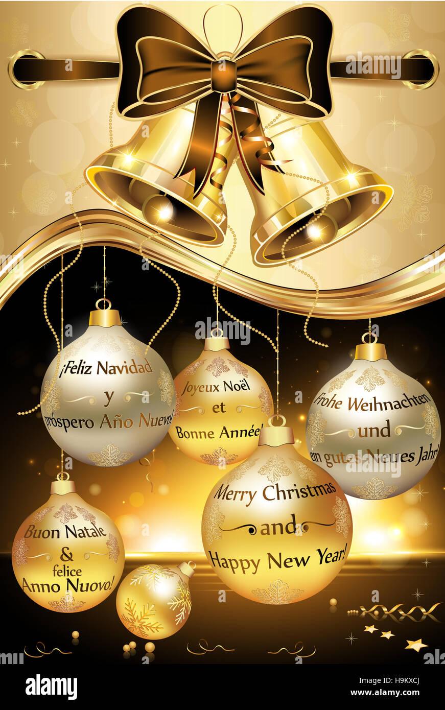Grußkarte für Silvester mit Nachricht in vielen Sprachen: Englisch ...