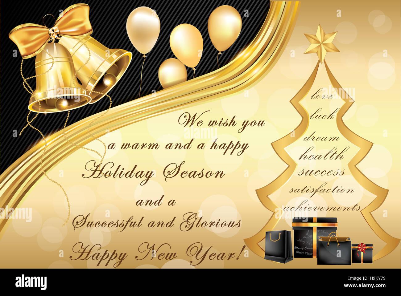 Weihnachtsbaum Der Guten Wünsche.Elegante Corporate Weihnachten Und Neujahr Grußkarte Enthält Jingle