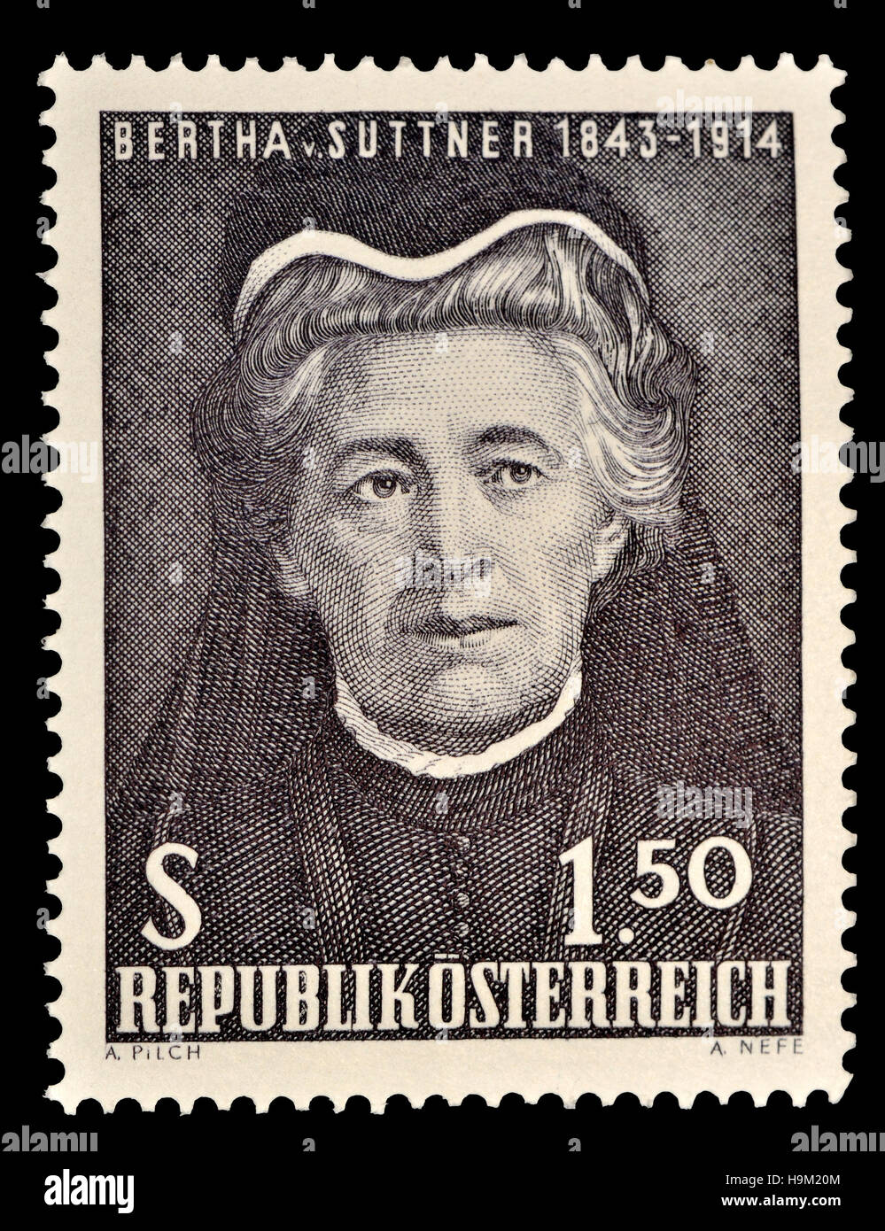 Österreichische Briefmarke (1965): Bertha Felicitas Sophie Freifrau von Suttner (1843-1914) Tschechische / Stockbild