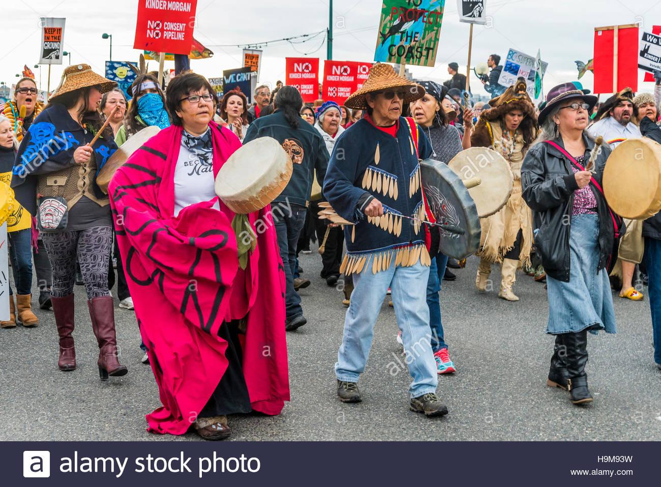 Anti-Kinder Morgan Pipeline Protestkundgebung und März, Vancouver, Britisch-Kolumbien, Kanada. Stockbild