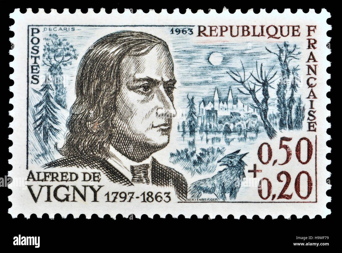 Französische Briefmarke (1963): Alfred Victor, Comte de Vigny (1797-1863), französischer Dichter, Schriftsteller Stockbild